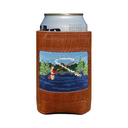 Fly Fishing Scene Needlepoint Can Cooler by Smathers & Branson