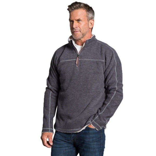 Bonded Vintage Cord 1/4 Zip Pullover in Charcoal by True Grit