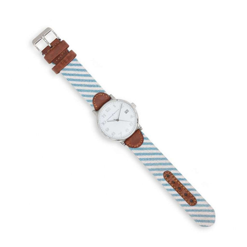 Smathers and Branson Blue Seersucker Needlepoint Watch by Smathers & Branson
