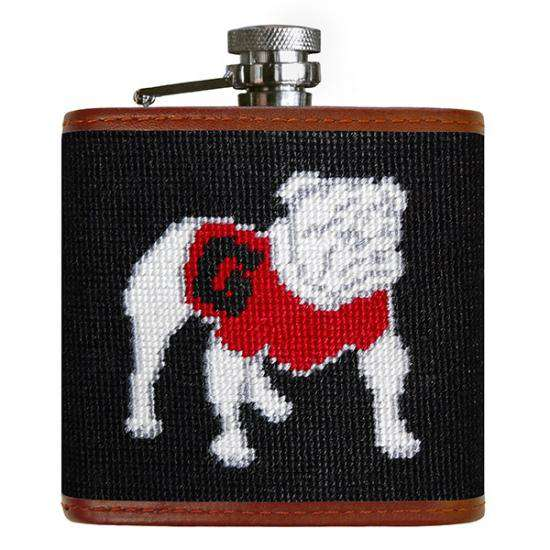 Smathers and Branson University of Georgia Needlepoint Flask in Black by Smathers & Branson