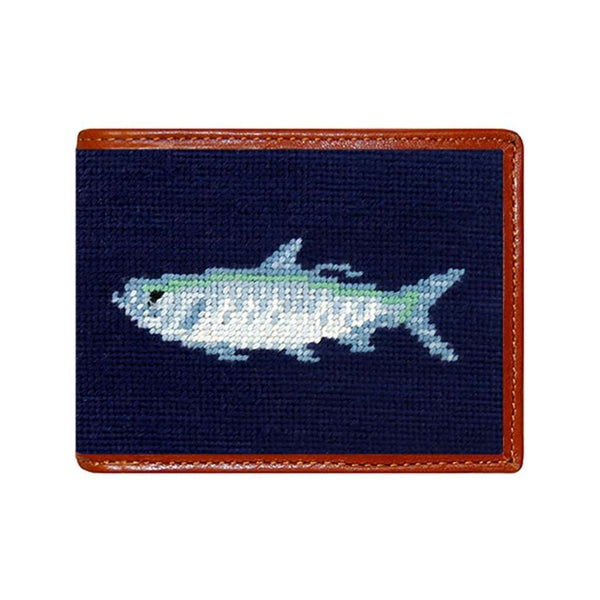 Tarpon Needlepoint Bi-Fold Wallet in Dark Navy by Smathers & Branson