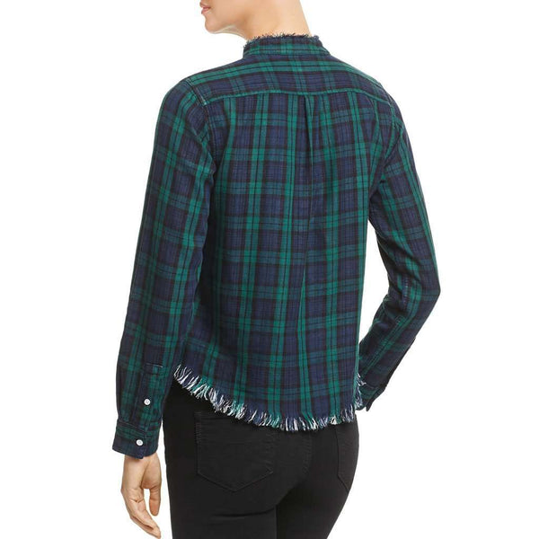 DL1961 W. 3rd & Sullivan Double-Face Crop Top in Green Plaid by DL1961