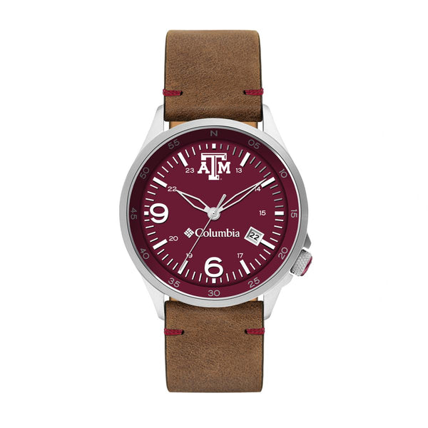 Texas A&M Canyon Ridge 3-Hand Date Saddle Leather Watch by Columbia Sportswear