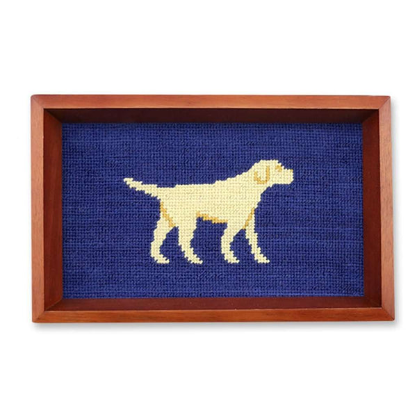 Yellow Lab Needlepoint Valet Tray in Classic Navy by Smathers & Branson