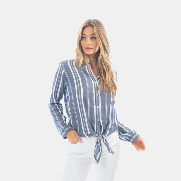 Indigo & White Woven Stripe Tie Top by True Grit (Dylan)