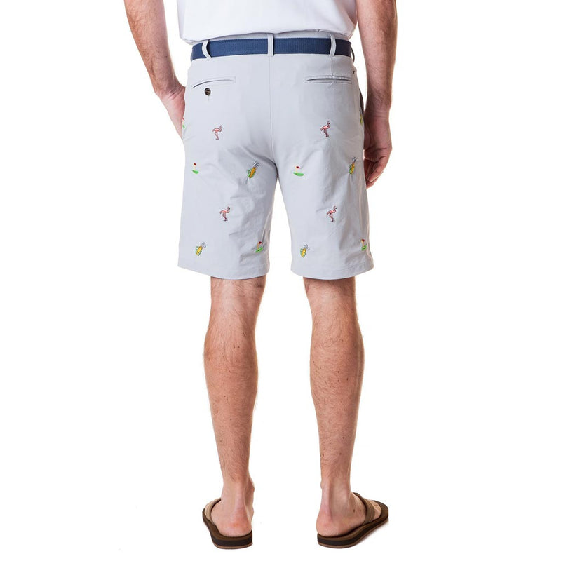 ACKformance Short with Flamingo & Golf Bags in Cement Grey by Castaway Clothing