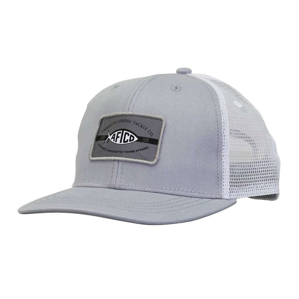 AFTCO Patch Trucker Hat in Light Gray