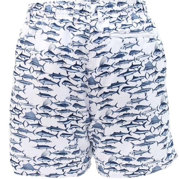 AFTCO Boatbar Swim Trunks in White by AFTCO