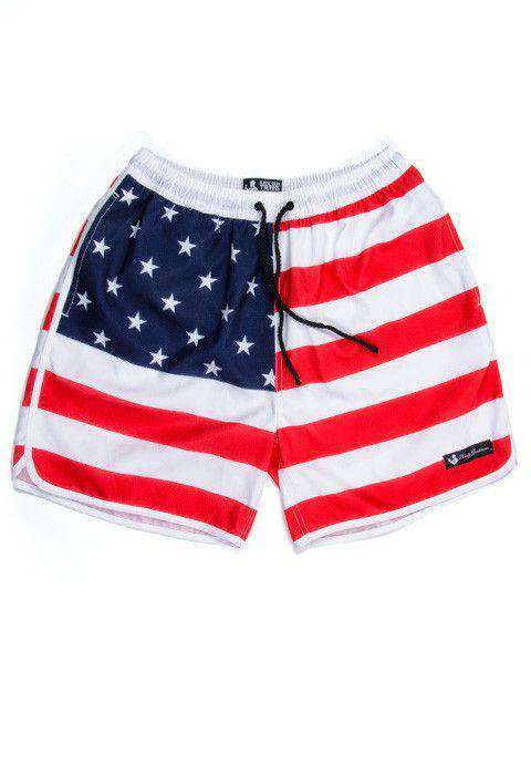Old Glories Swim Trunks in Red, White, and Blue by Rowdy Gentleman  - 3