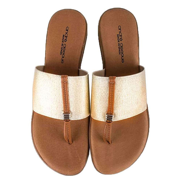 Nice Elastic Sandal Flat in Platino by Andre Assous