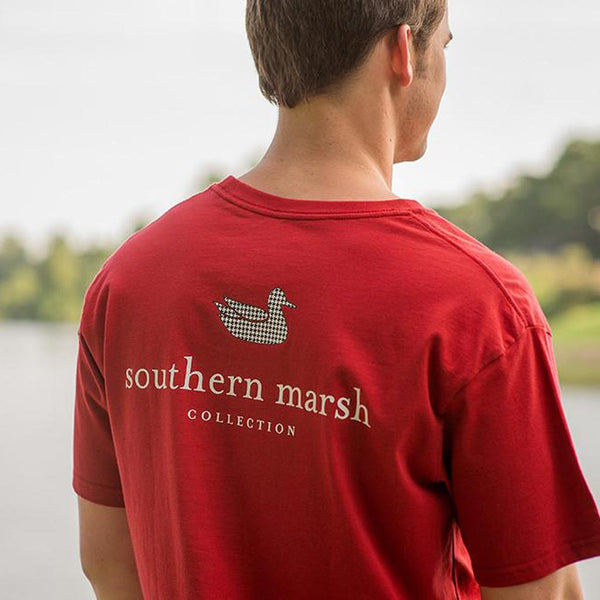 Authentic Collegiate Tee in Crimson with Houndstooth Duck by Southern Marsh