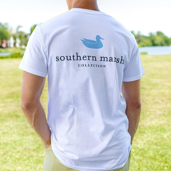 Authentic Collegiate Tee in White with Light Blue by Southern Marsh