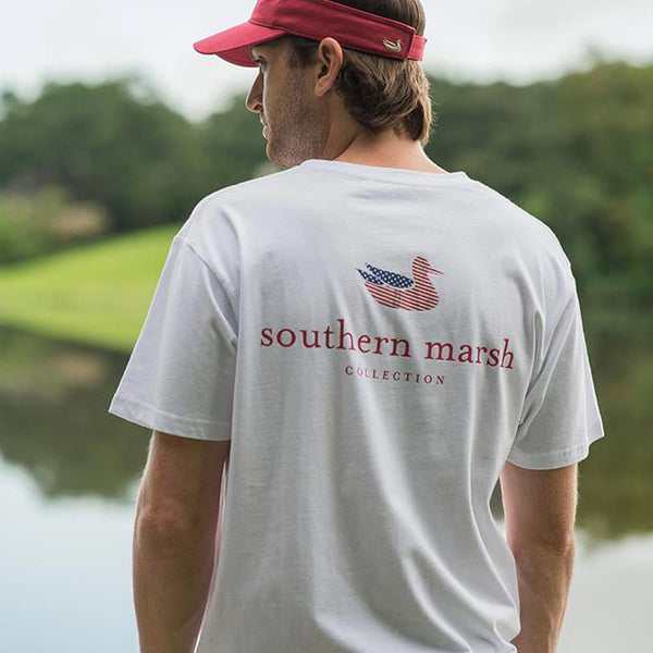 Authentic Flag Tee in White by Southern Marsh