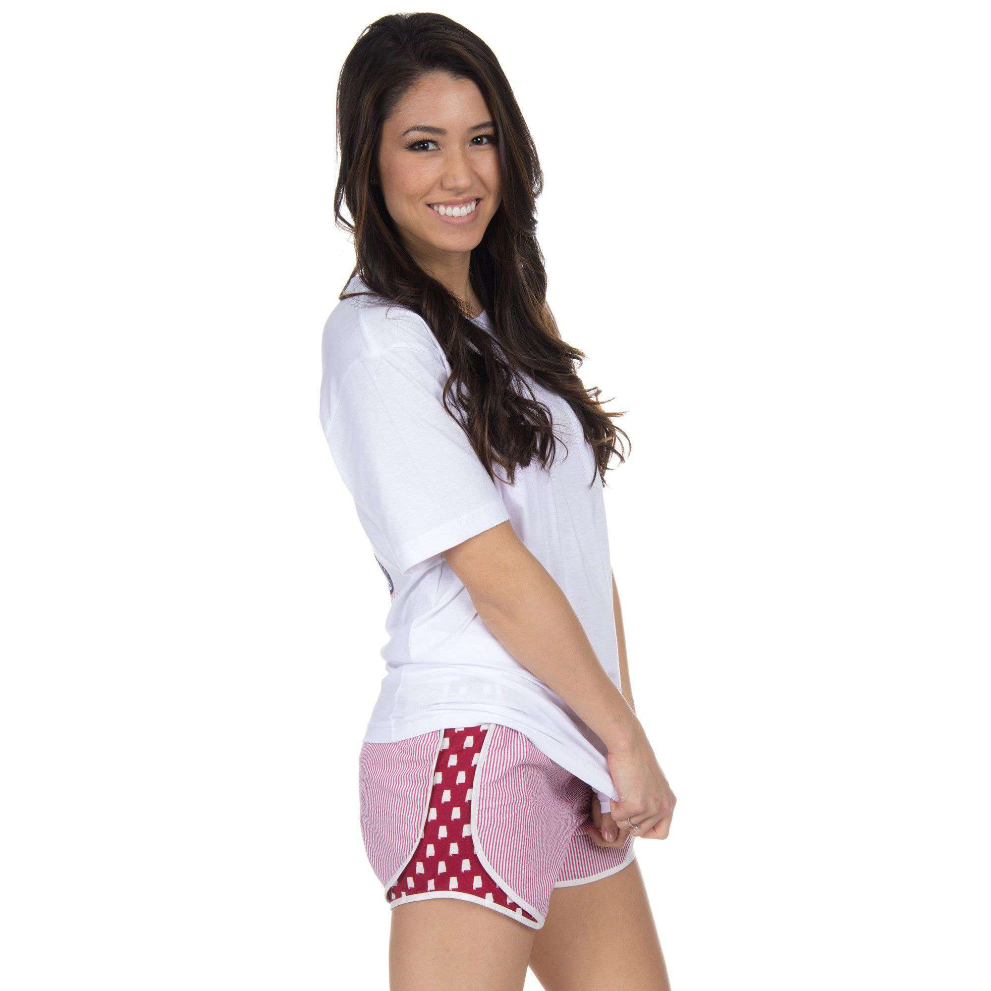Alabama Seersucker Shorties in Crimson by Lauren James  - 1