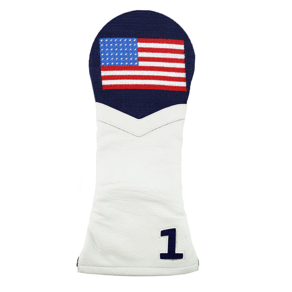 American Flag Needlepoint Driver Headcover by Smathers & Branson