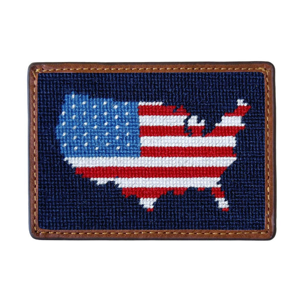 Americana Needlepoint Credit Card Wallet by Smathers & Branson