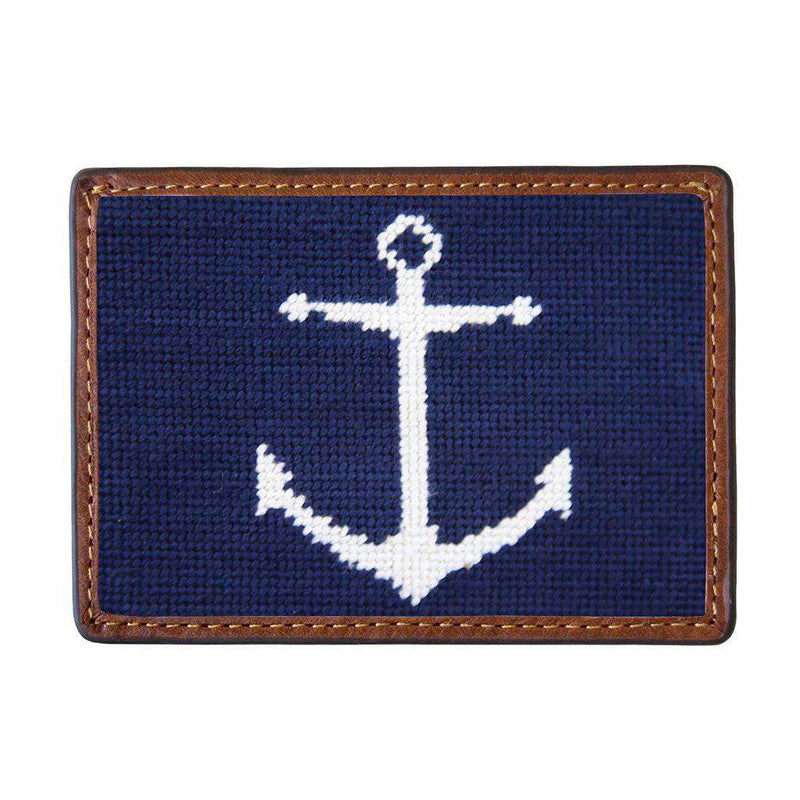 Smathers & Branson Anchor Needlepoint Credit Card Wallet in Dark Navy