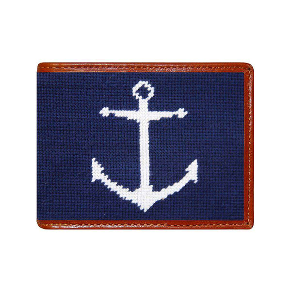 Smathers & Branson Anchor Needlepoint Wallet in Dark Navy