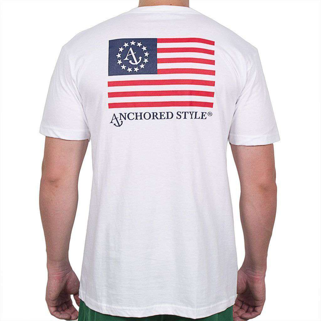 Anchored Ensign Flag Tee Shirt in White by Anchored Style  - 1
