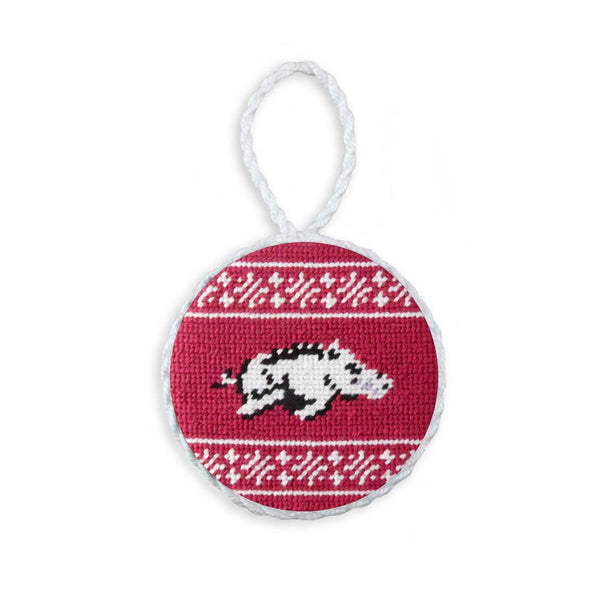 University of Arkansas Fairisle Needlepoint Ornament by Smathers & Branson
