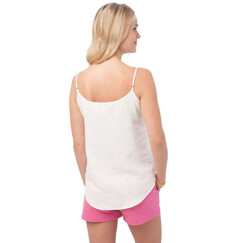 Ava Embroidered Tank in Classic White by Southern Tide  - 3
