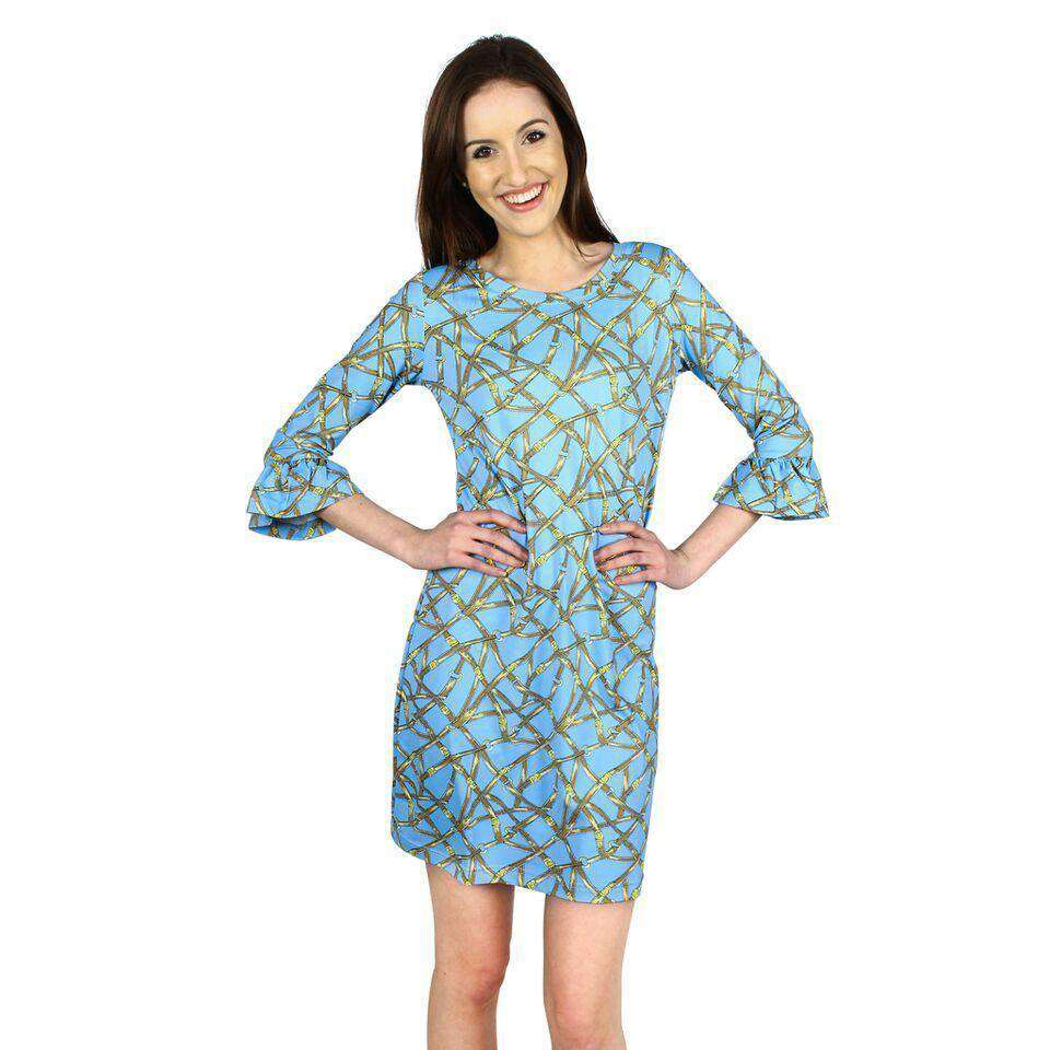 Belts Print Dress in Light Blue by Barbara Gerwit  - 1
