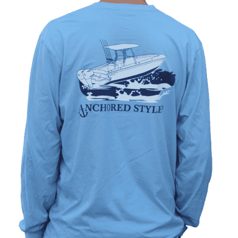 Long Sleeve Angler Tee in Blue by Anchored Style  - 1