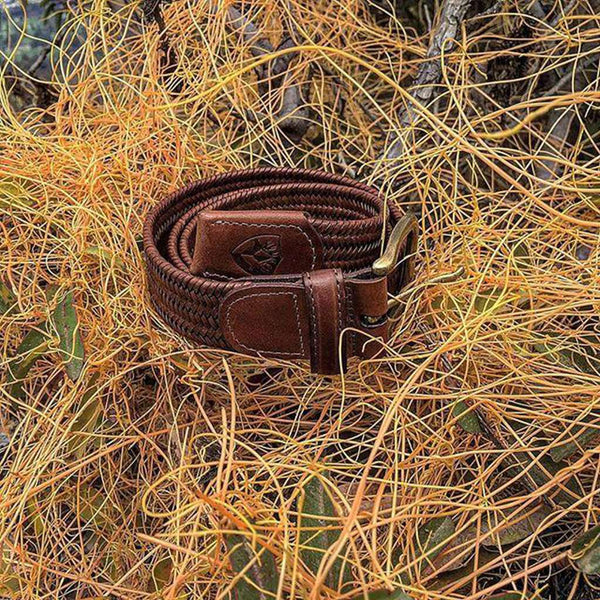 The Back Nine Woven Leather Belt in Brown Brass by Bucks Club