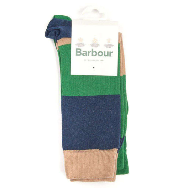 Barbour Cleadon Socks Gift Pack in Brown Stripe and Green