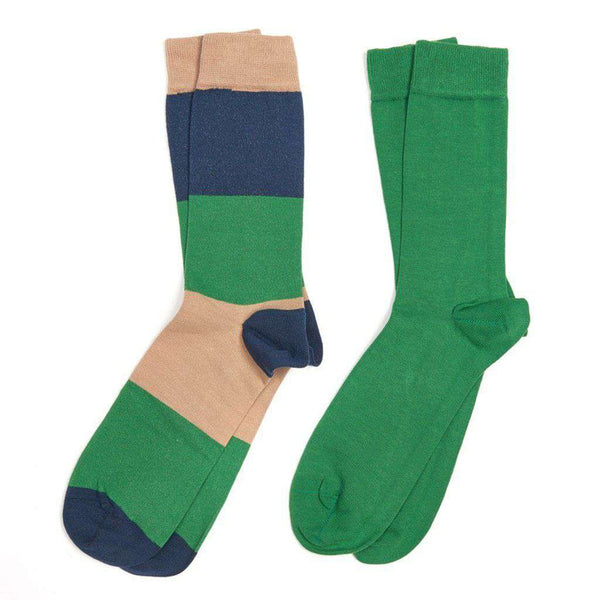 Men's Cleadon Socks Gift Pack in Brown Stripe and Green by Barbour - FINAL SALE