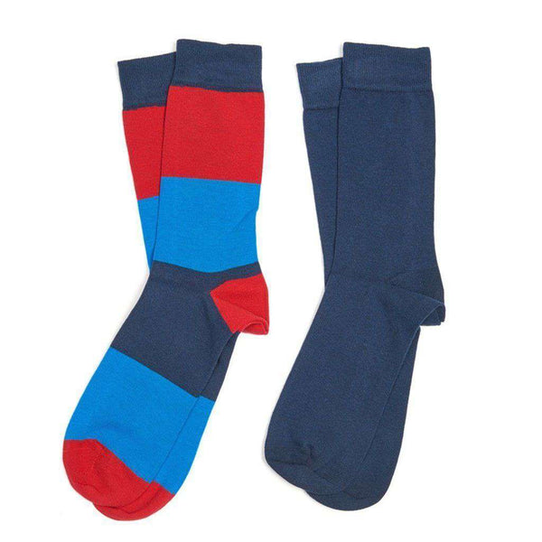 Men's Cleadon Socks Gift Pack in Navy Stripe and Navy by Barbour - FINAL SALE