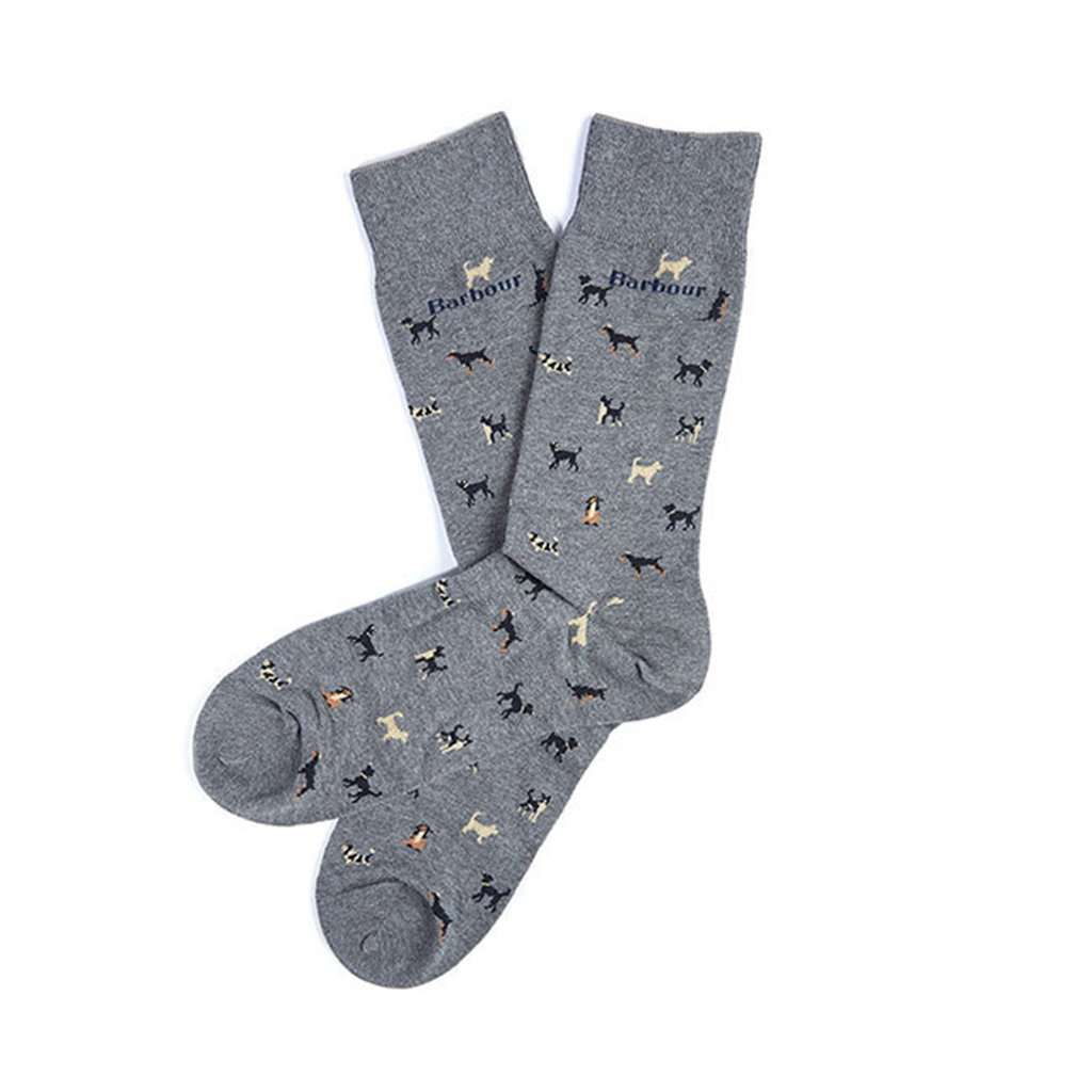 Barbour Mavin Socks in Mid Blue with Dogs
