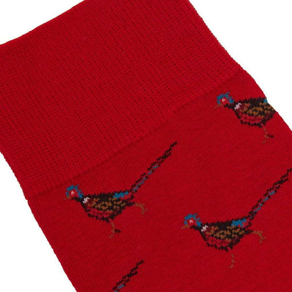 Barbour Mavin Socks in Red with Pheasants