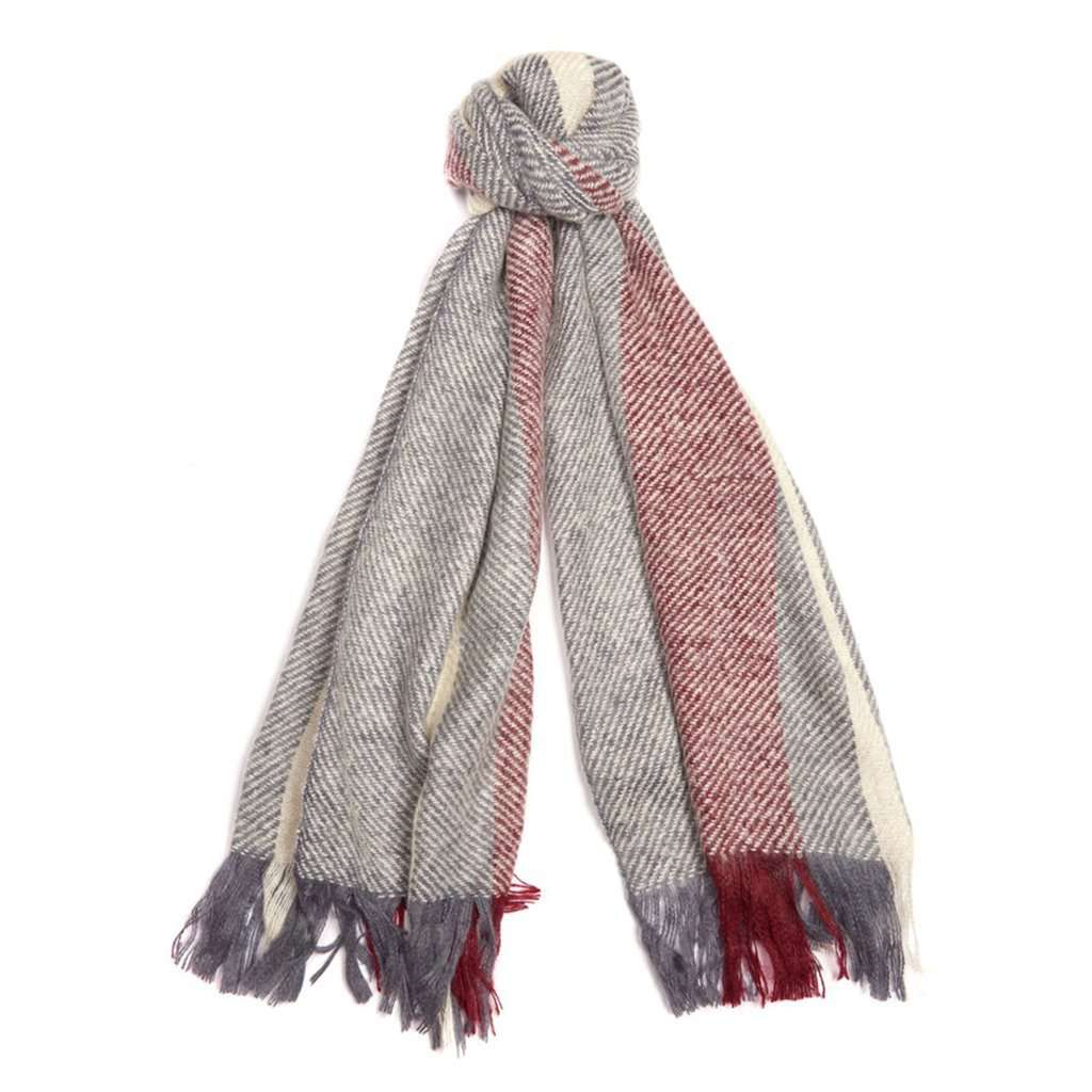 Barbour Munro Scarf in Gray and Red