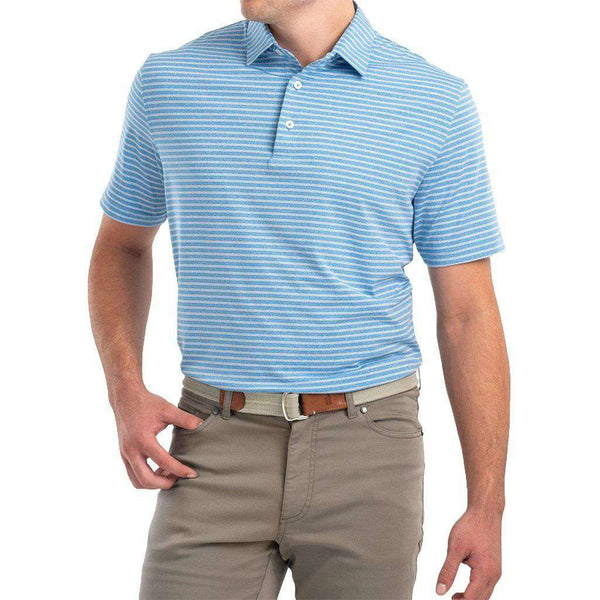 Barrett Striped Prep-Formance Jersey Polo in Capri by Johnnie-O