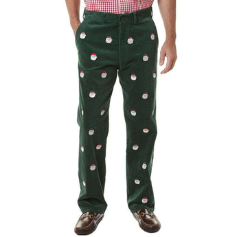 Beachcomber Corduroy Pants in Hunter Green with Embroidered Saint Nick by Castaway Clothing  - 1