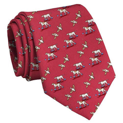 Bird Dog Bay Quail Hunt Tie in Red