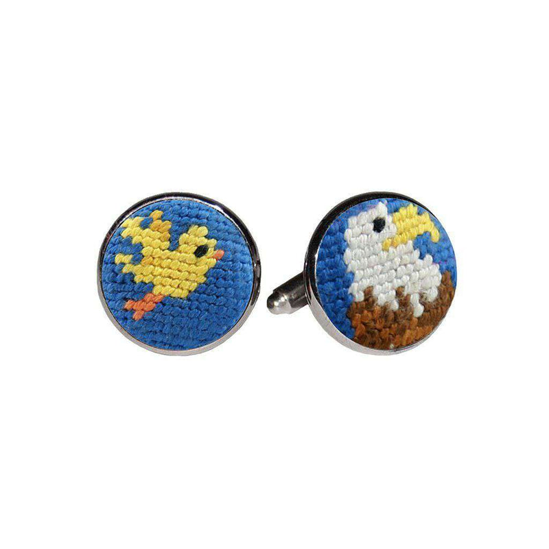 Smathers & Branson Birdie Eagle Needlepoint Cufflinks in Blueberry