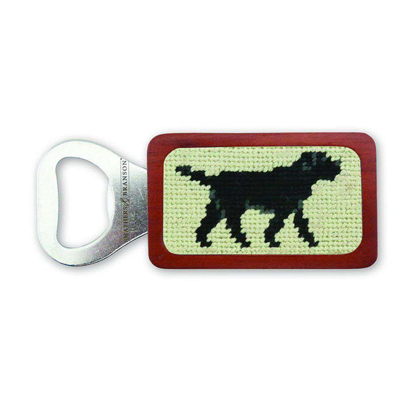 Smathers & Branson Black Lab Needlepoint Bottle Opener in Light Khaki