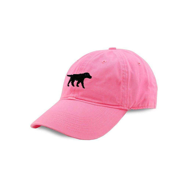 Smathers & Branson Black Lab Needlepoint Hat in Pink