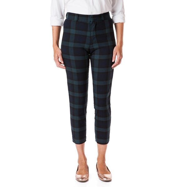 Ladies Beachcomber Stretch Twill Ankle Capri in Blackwatch Tartan Plaid by Castaway Clothing