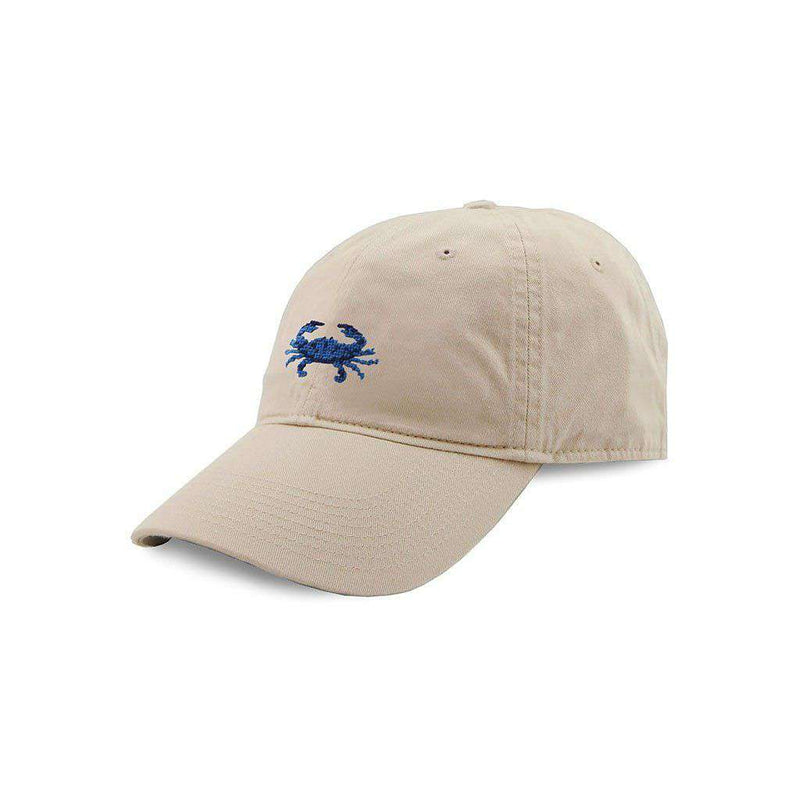 Smathers & Branson Blue Crab Needlepoint Hat in Stone