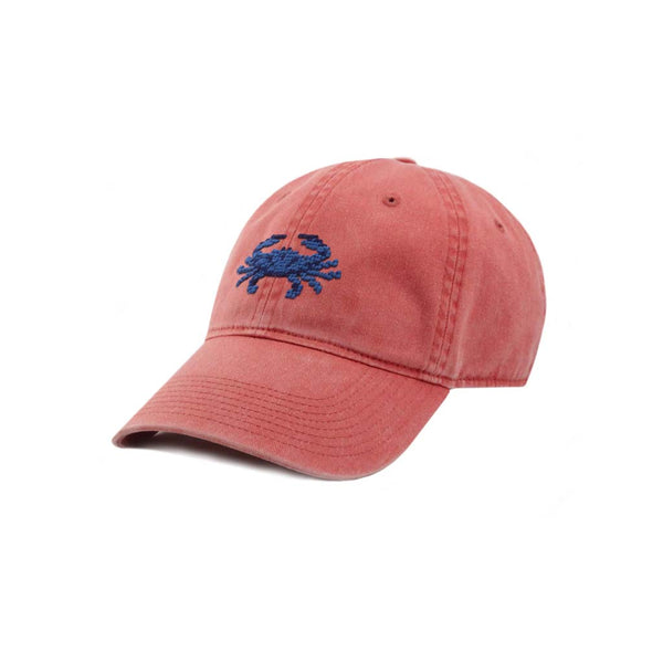 Blue Crab Needlepoint Hat in Nantucket Red by Smathers & Branson
