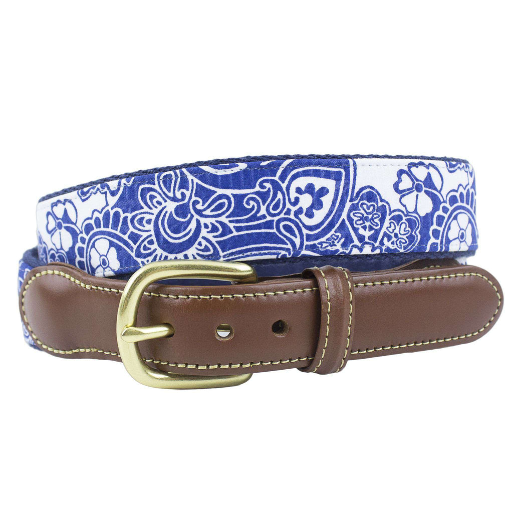 Blue Paisley Leather Tab Belt on Navy Canvas by Country Club Prep