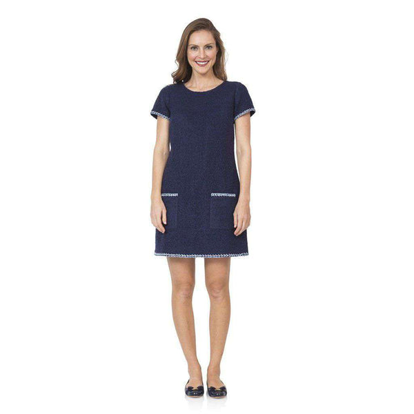 Sail to Sable Embroidered Boucle Shift Dress in Navy by Sail to Sable