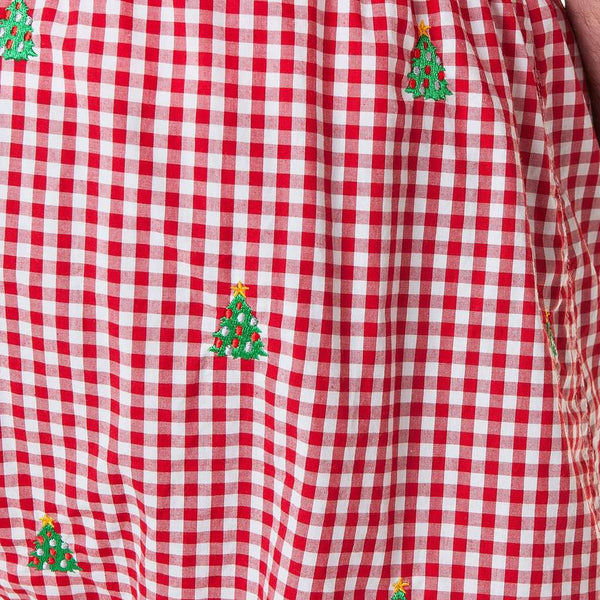 Castaway Clothing Gingham Barefoot Boxer with Embroidered Christmas Trees by Castaway Clothing