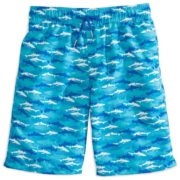 Boy's Shark Frenzy Swim Trunk in Scuba Blue by Southern Tide  - 1