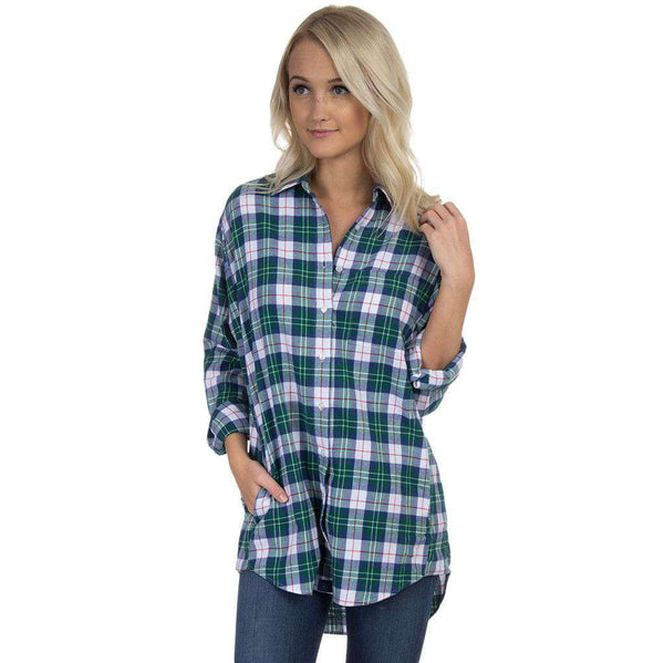 Boyfriend Flannel in Hunter Green by Lauren James  - 1