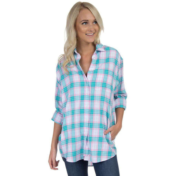 Boyfriend Flannel in Lagoon Blue by Lauren James  - 1