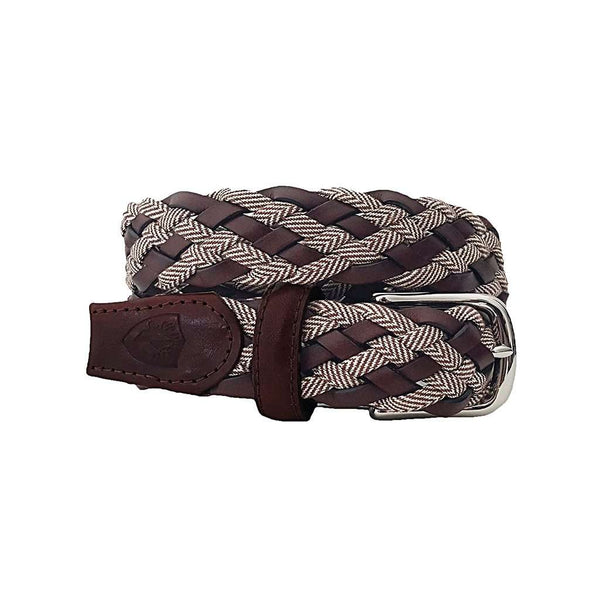 The Privilege Leather and Tweed Woven Belt in Brown by Bucks Club